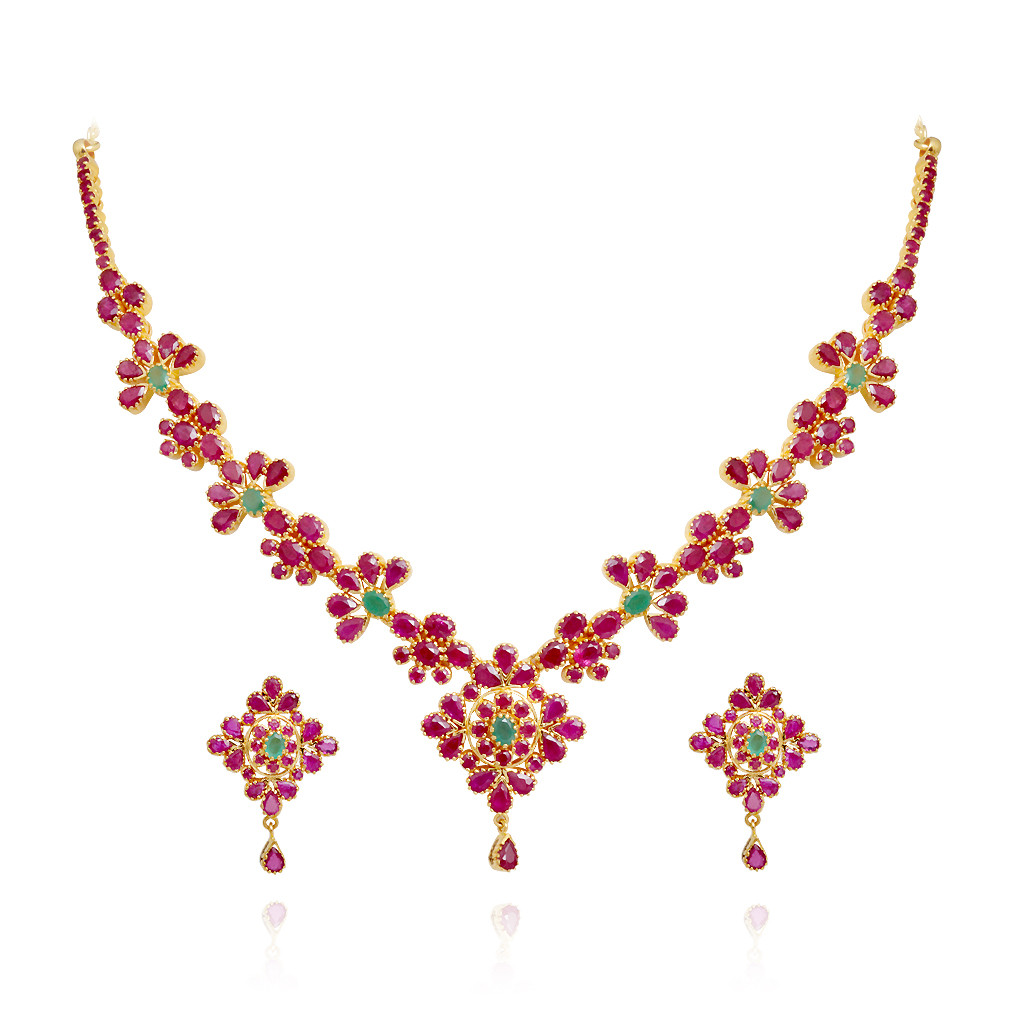 Blossom Flower Ruby and Emerald Gold Necklace