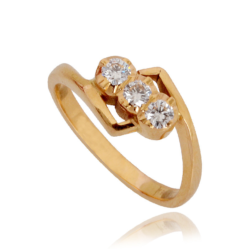Three Stone Diamond Ring in 22Kt Gold