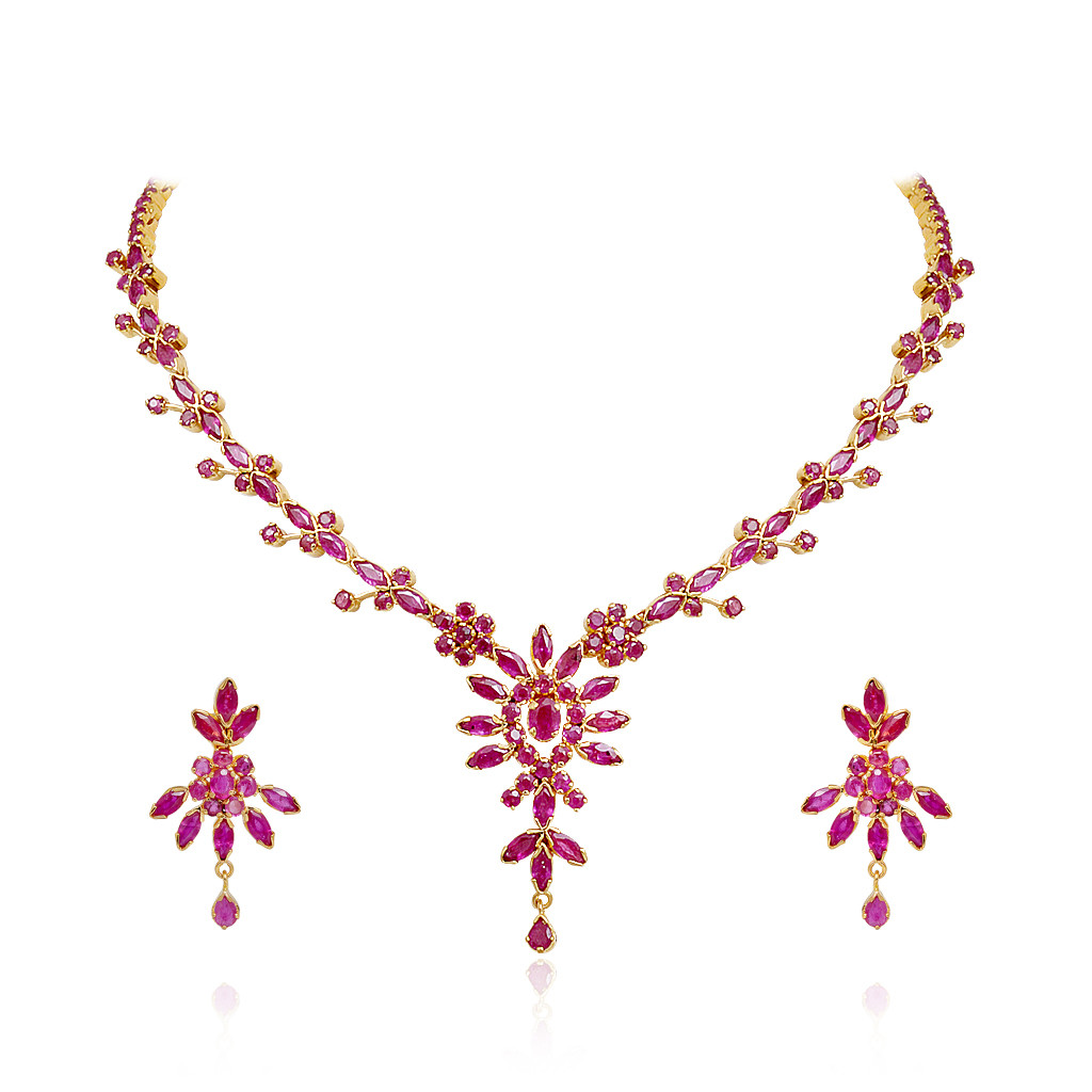 Aster Floral Design Ruby Necklace