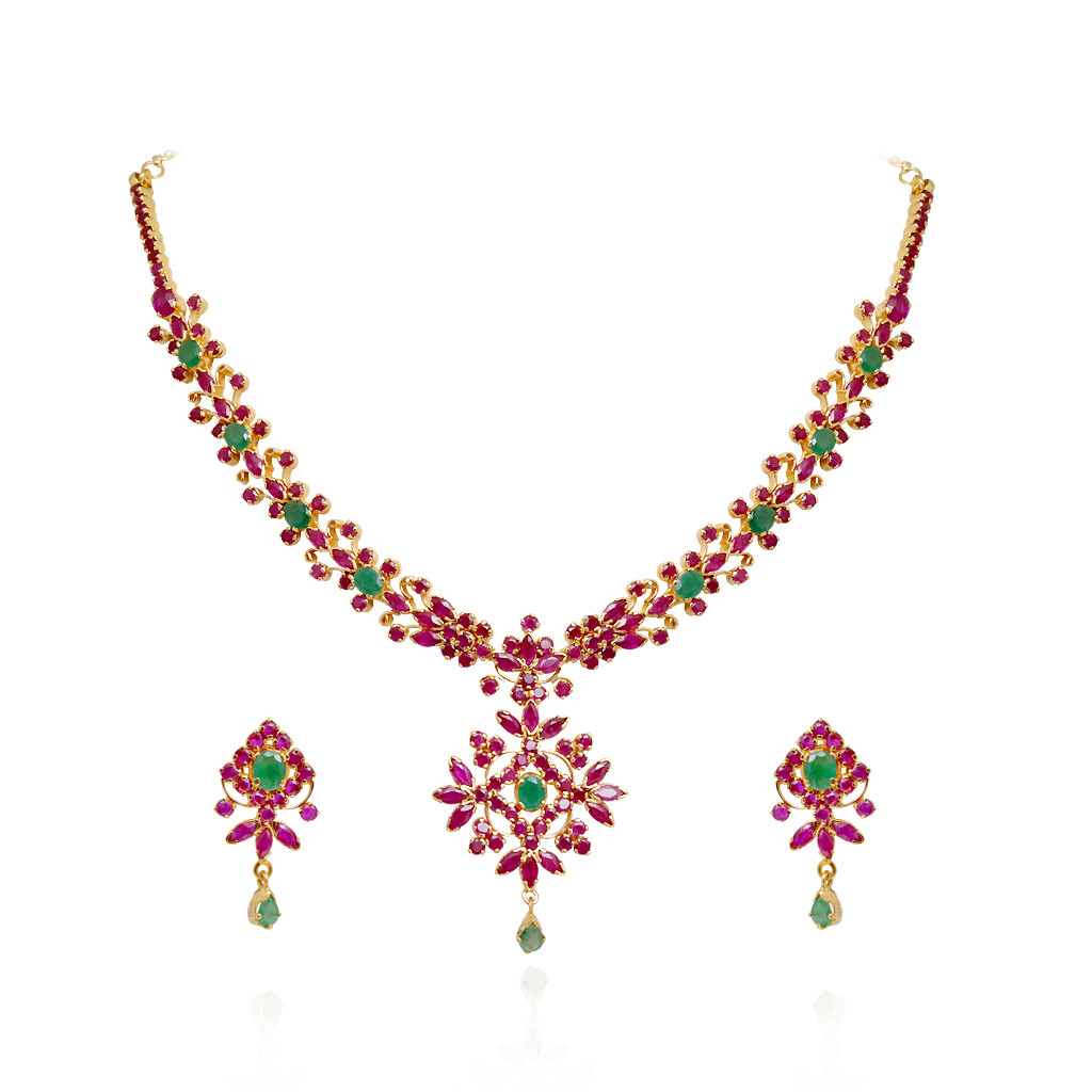Queen's Square Ruby & Emerald Gold Necklace