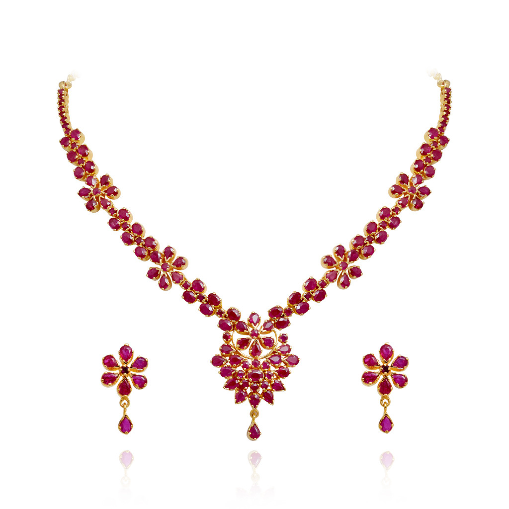 Beautifully Designed Floral Ruby Necklace Set