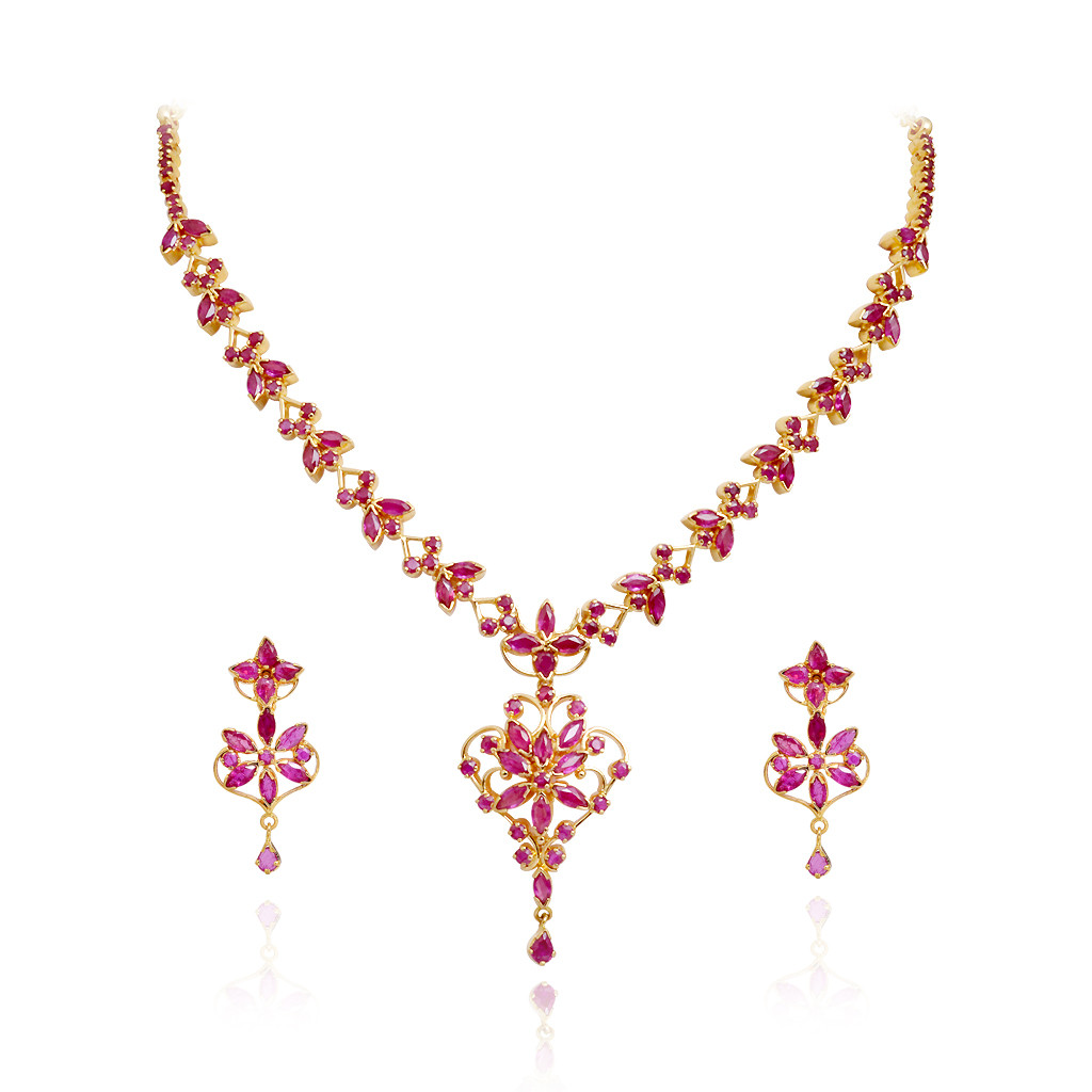 Try It Online Royal Bloom Ruby Necklace Grt Jewellers