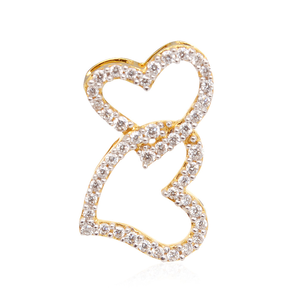 The Beading Love Couple Hearts Diamond Pendant