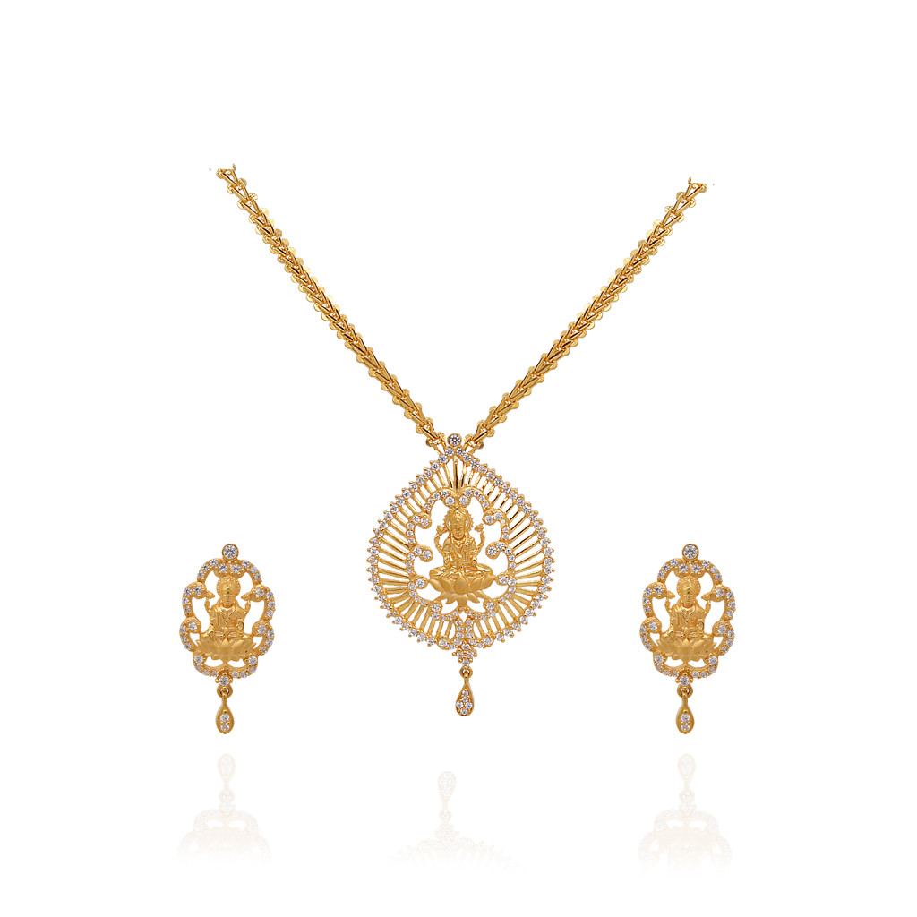 22KT Yellow Lakshmi With Pear Drop Gold Necklace