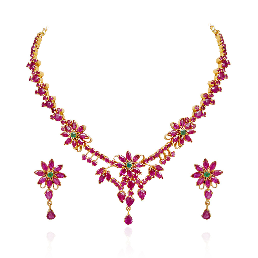 Exclusively Designed Ruby & Emerald Gold Necklace