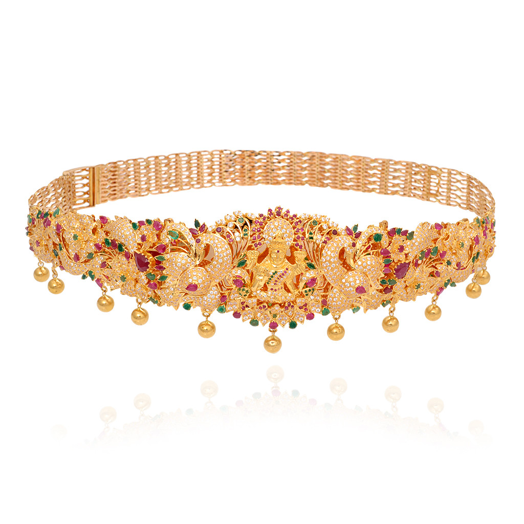 Bridal Gold Lakshmi waist belt with Ruby & Emerald Stones