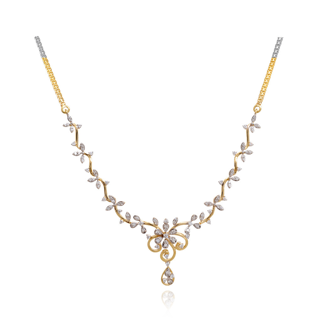 Aster Floral Design Diamond Necklace
