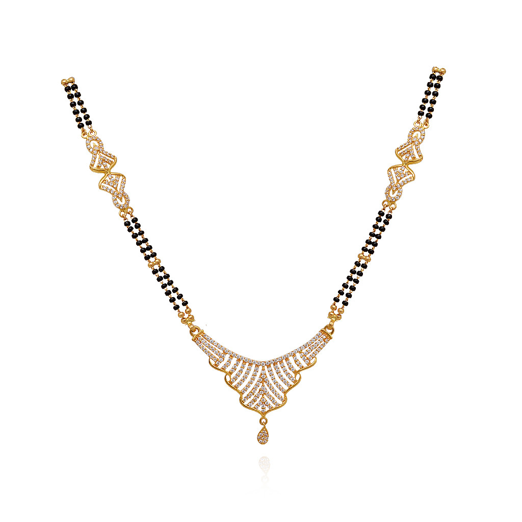 Double Link Black Beads Gold Necklace