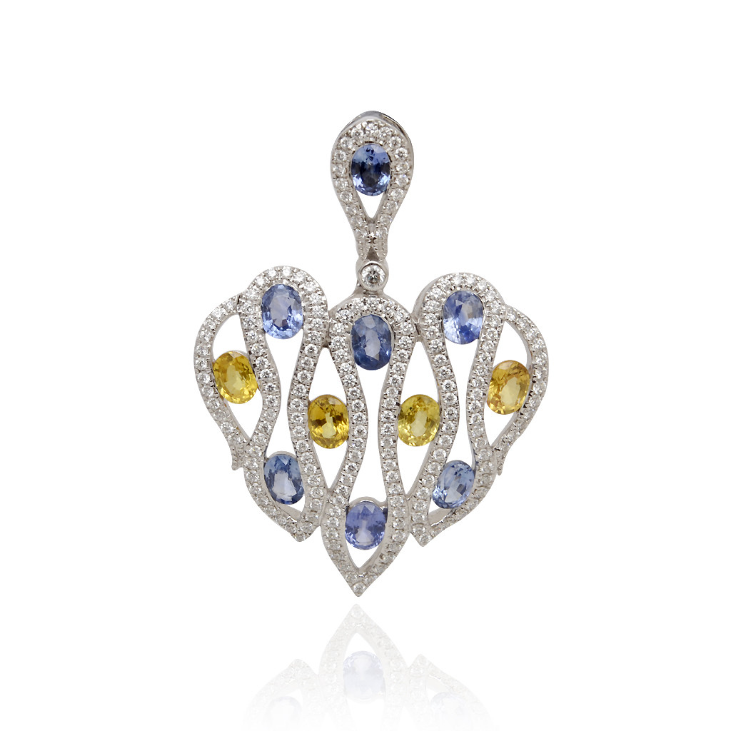 Modern Heart With Colour Stone Studded Diamond Pendant