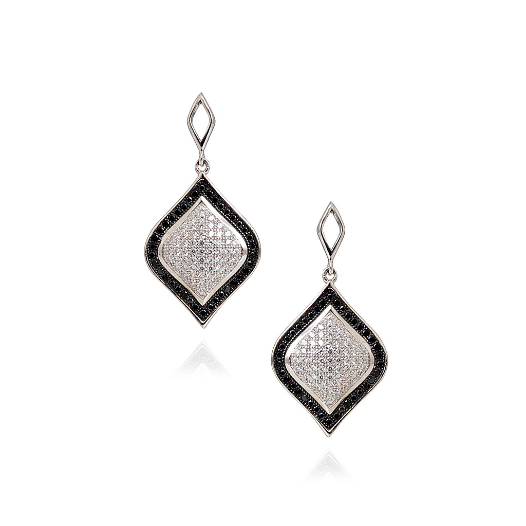 earrings marquise shape silver micro pave setting