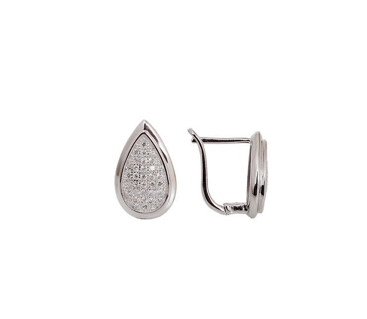 Pear MicroPave Cubic Zirconia Silver Earring