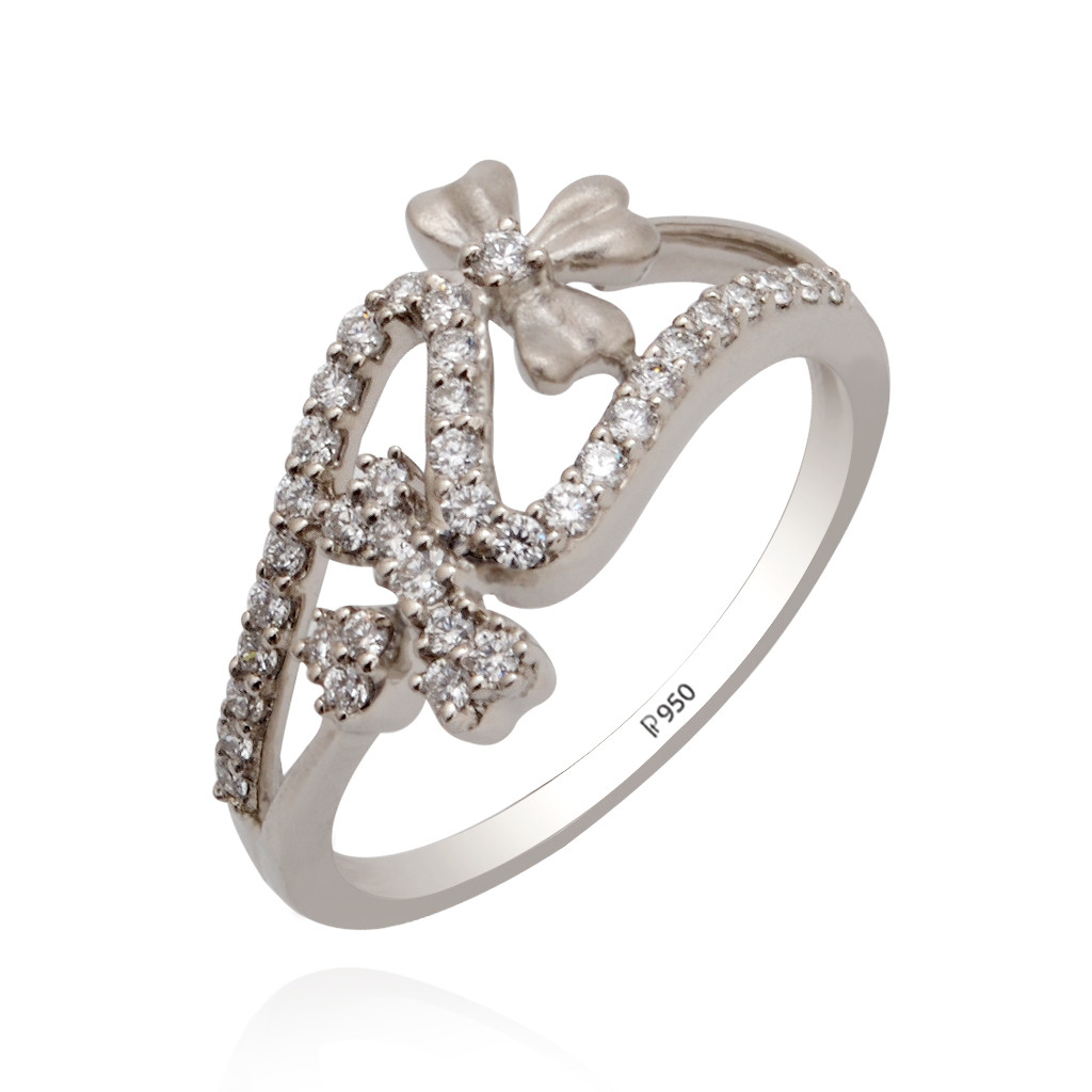 Flower Petal Platinum Ring