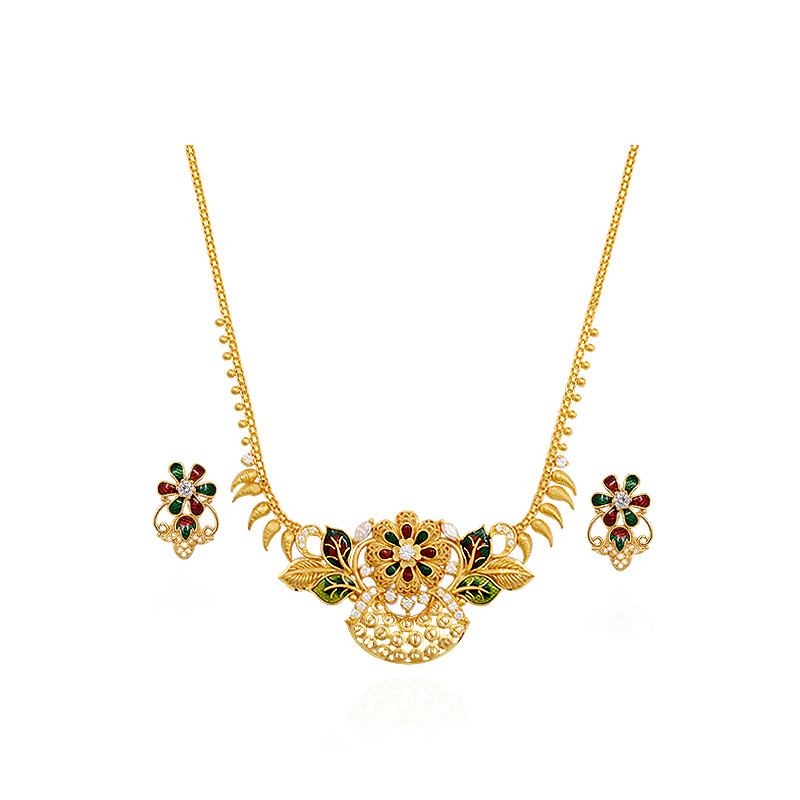 Gold Flower Enamel Necklace