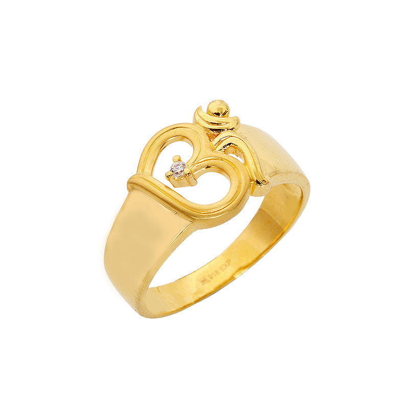 """22kt Gold Platinum: 22KT 'OHM"""" Yellow Gold Ring"""