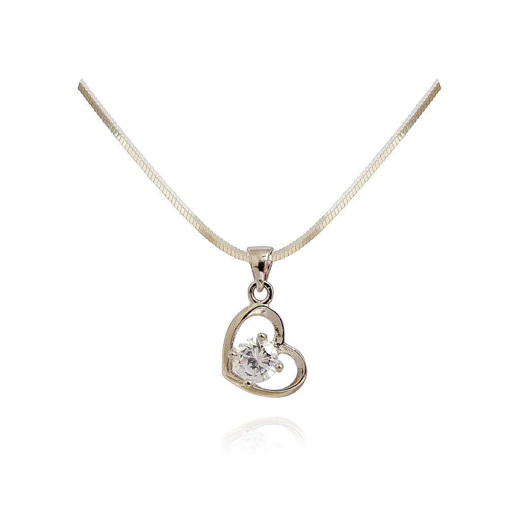 925 Sterling Silver Cubic Zirconia CZ  Heart Pendant Necklace