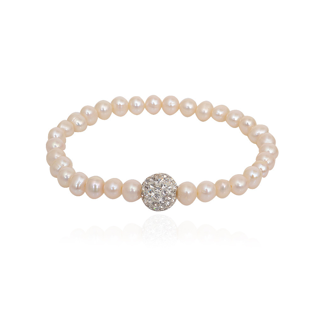 Blossom Pearl With Silver Ball Bracelet