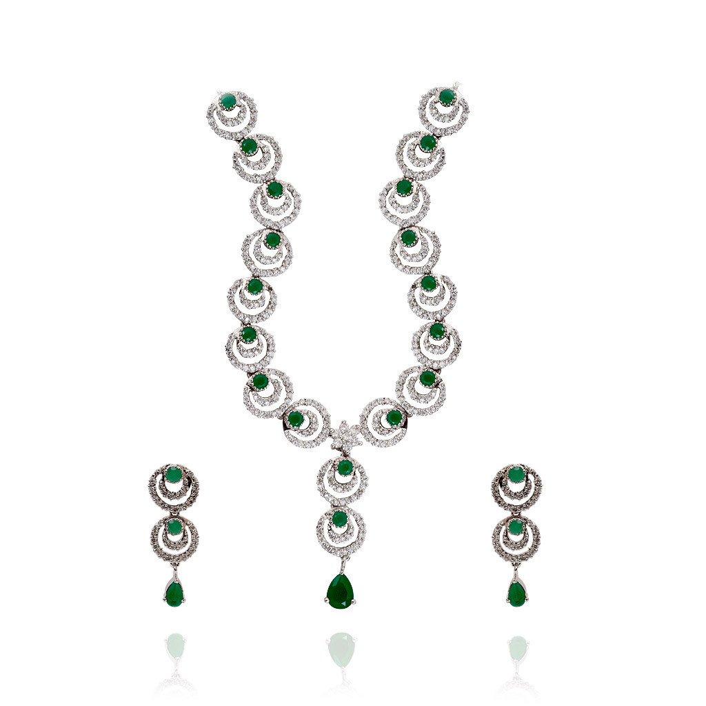 Hoop Shaped Green Stone Silver Necklace with Earring