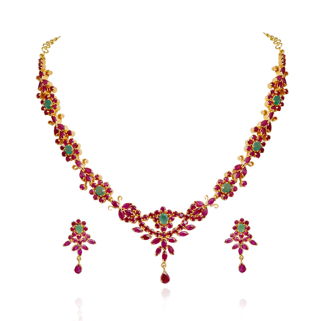 Traditional South Indian Ruby & Emerald Necklace Set