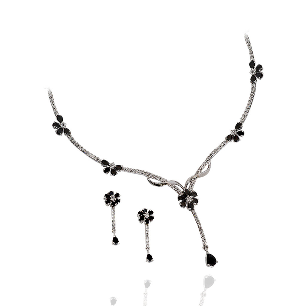 Mysterious Flower Silver Necklace Set