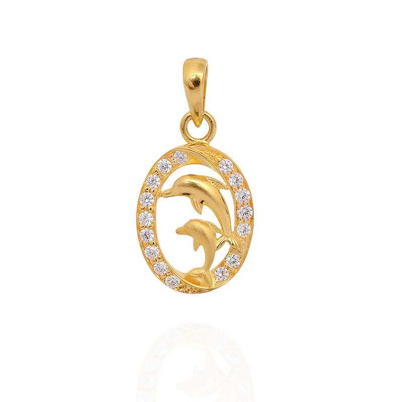 STONE STUDDED  MOM & ME DOLPHINS GOLD PENDANT