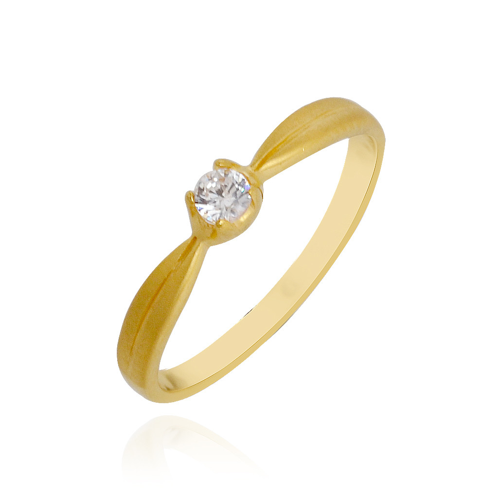 Classic Tapered Single Stone Baby Gold Ring
