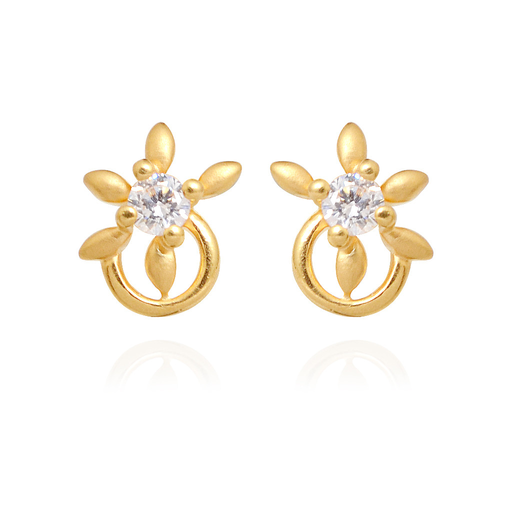 Children Jewelry - Single Stone Daisy Flower Hoop Earring