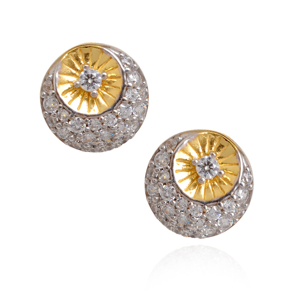 Gold Half Moon Rhinestone Stud Earrings