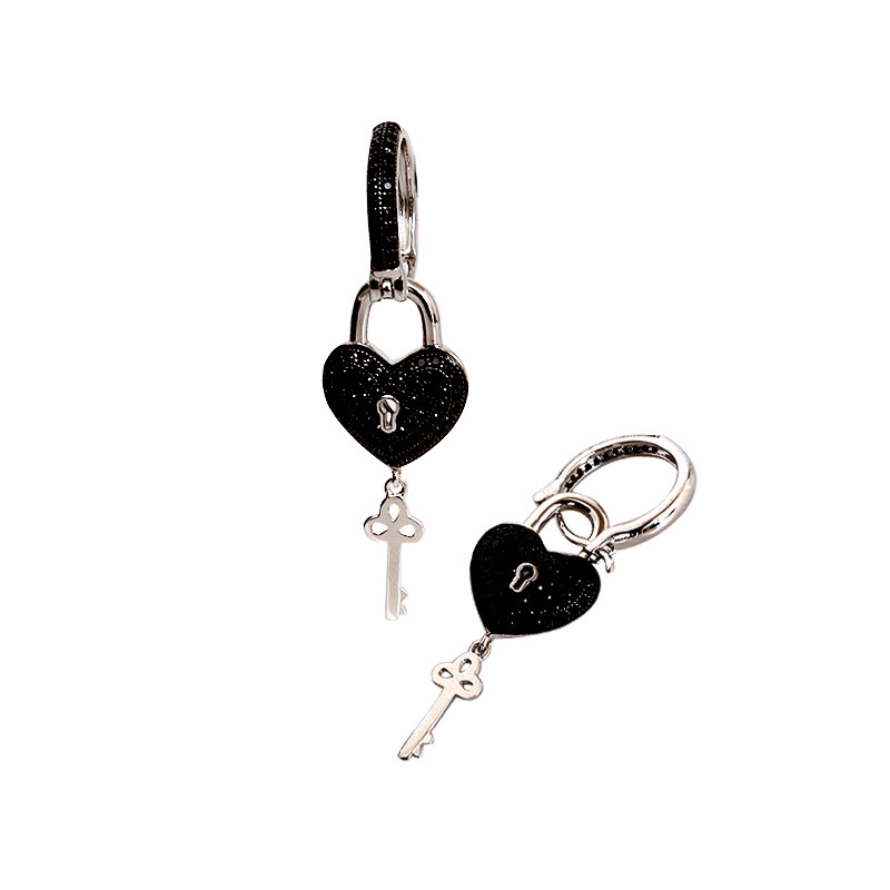 Sterling Silver CZ Pave Heart Lock with Key Earrings