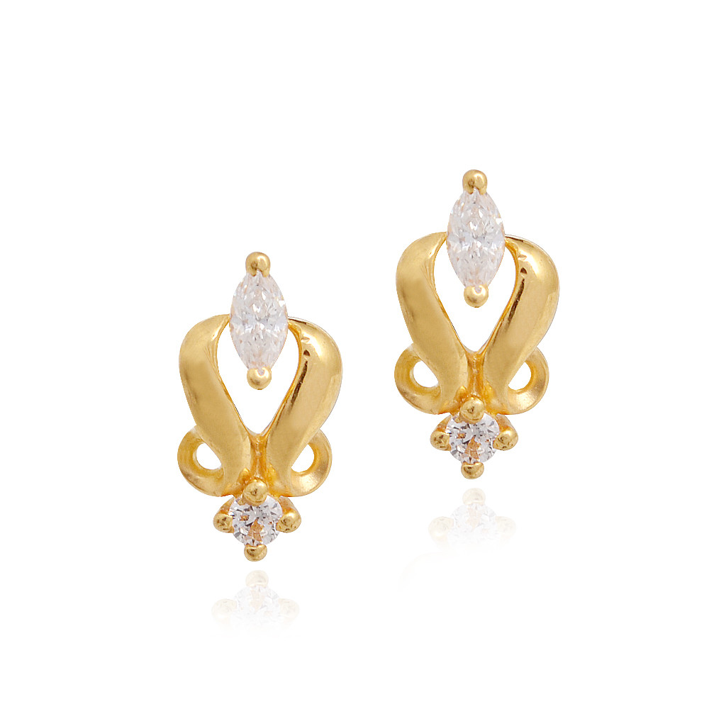 Sanskruti Curvaceous Kids Gold Earrings