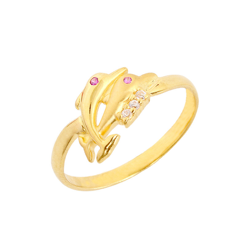 Dolphin Love 3 Stone Gold Ring