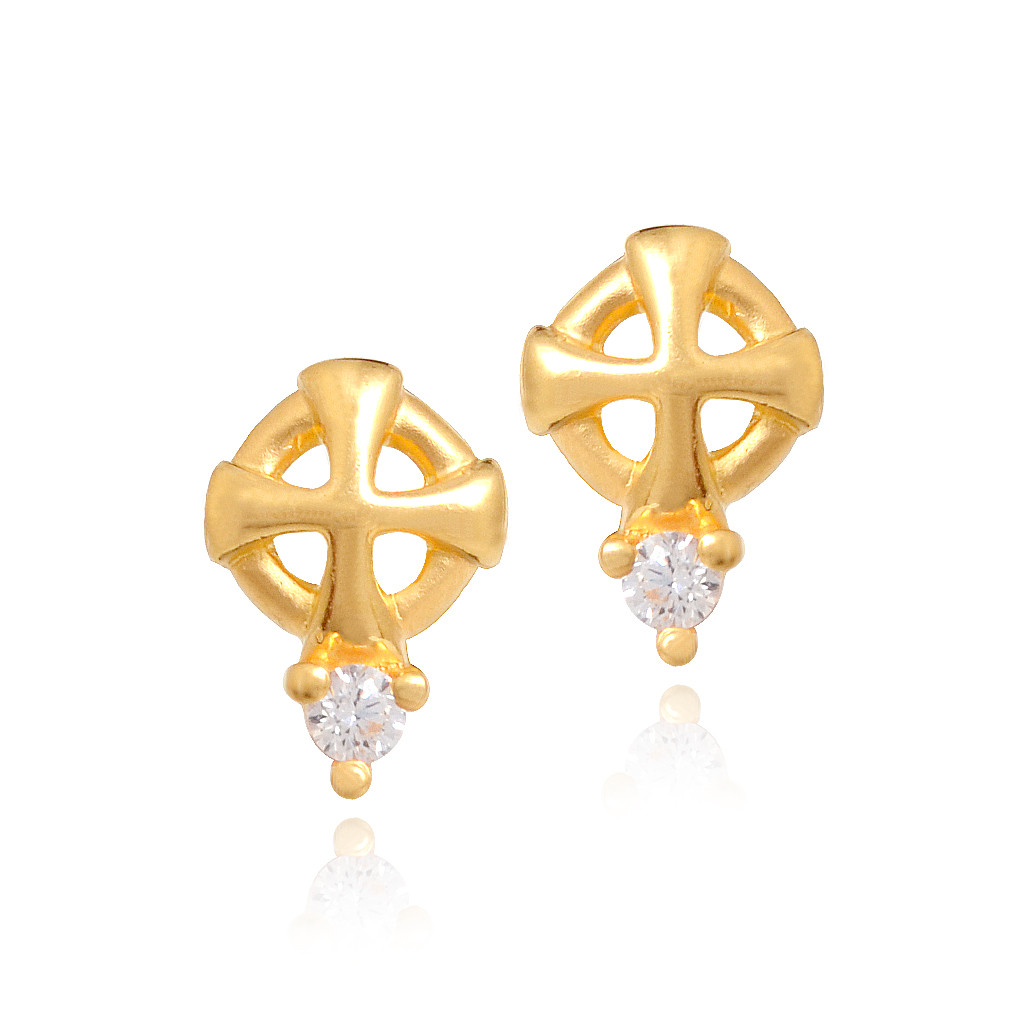 22 Kt Gold Cross Earrings- Christening Kee
