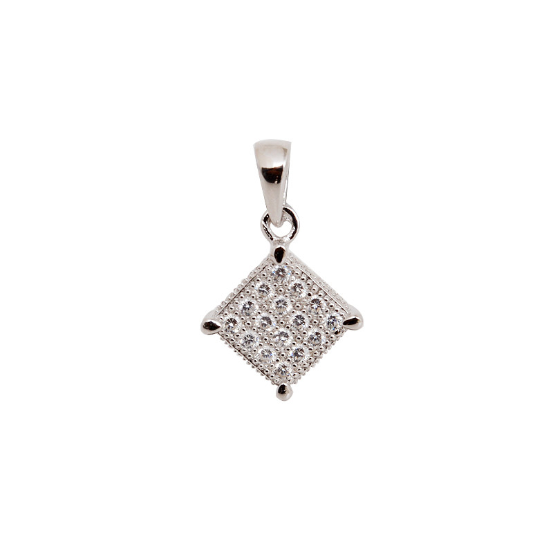 Silver Tone Studded Square Pendant