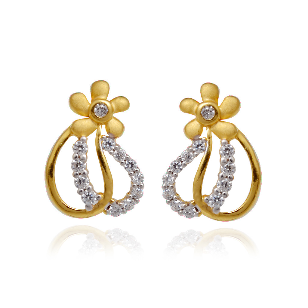 Flower Hoop Love Gold Earring