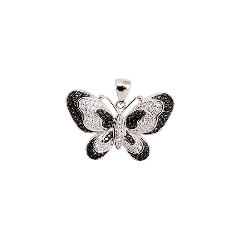 Black & White Sterling Silver Butterfly Pendant
