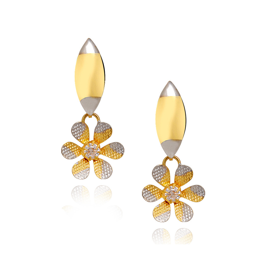 Duo Tone Six Petal Floral Gold Earring