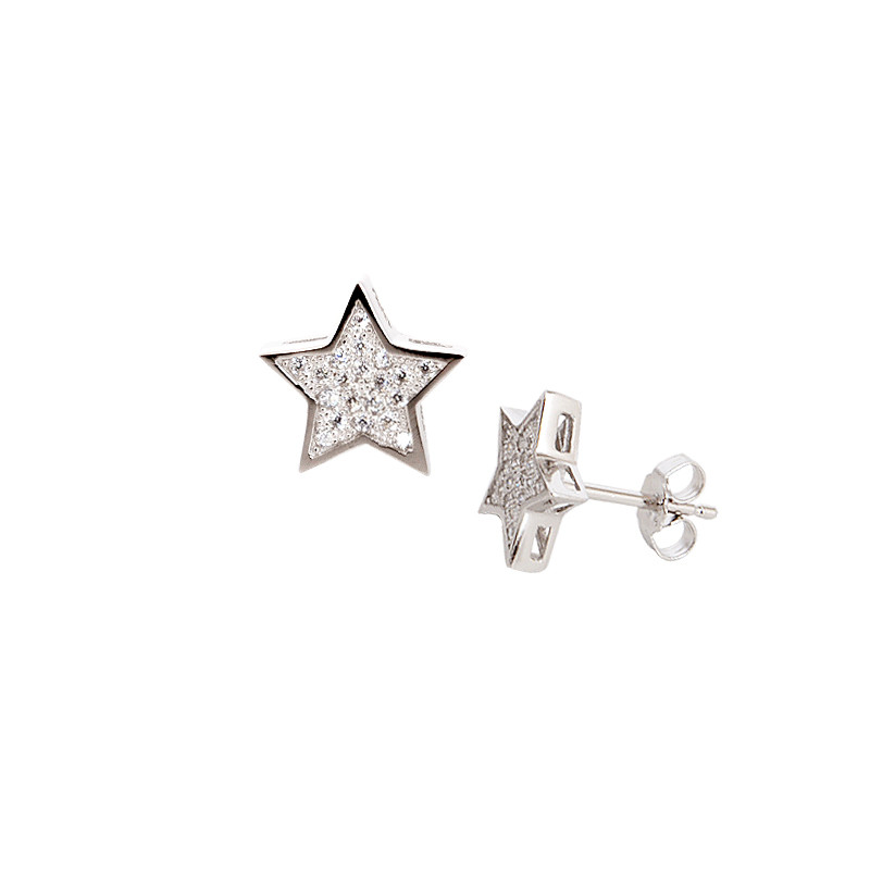 Sterling Silver Cubic Zirconia CZ Star Stud Earrings