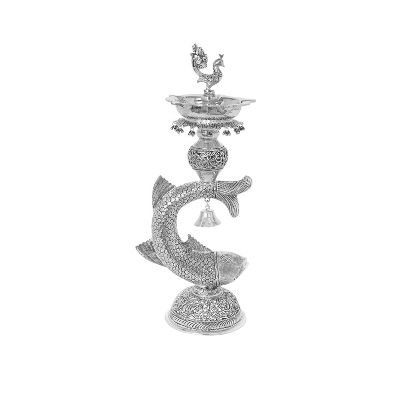 Fish Diya With Special Antique Finish