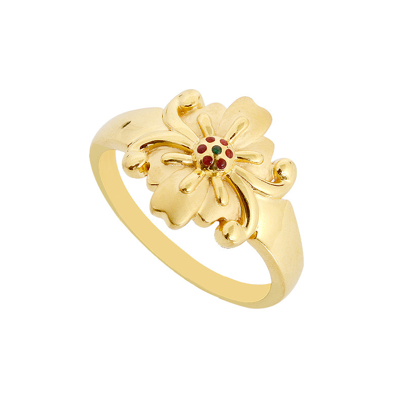D For Diamond Silver And Gold Flower Ring