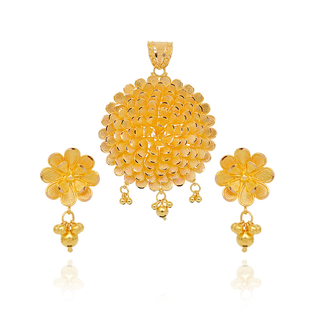 Pendants 22kt Single Flower With Dancing Balls Gold