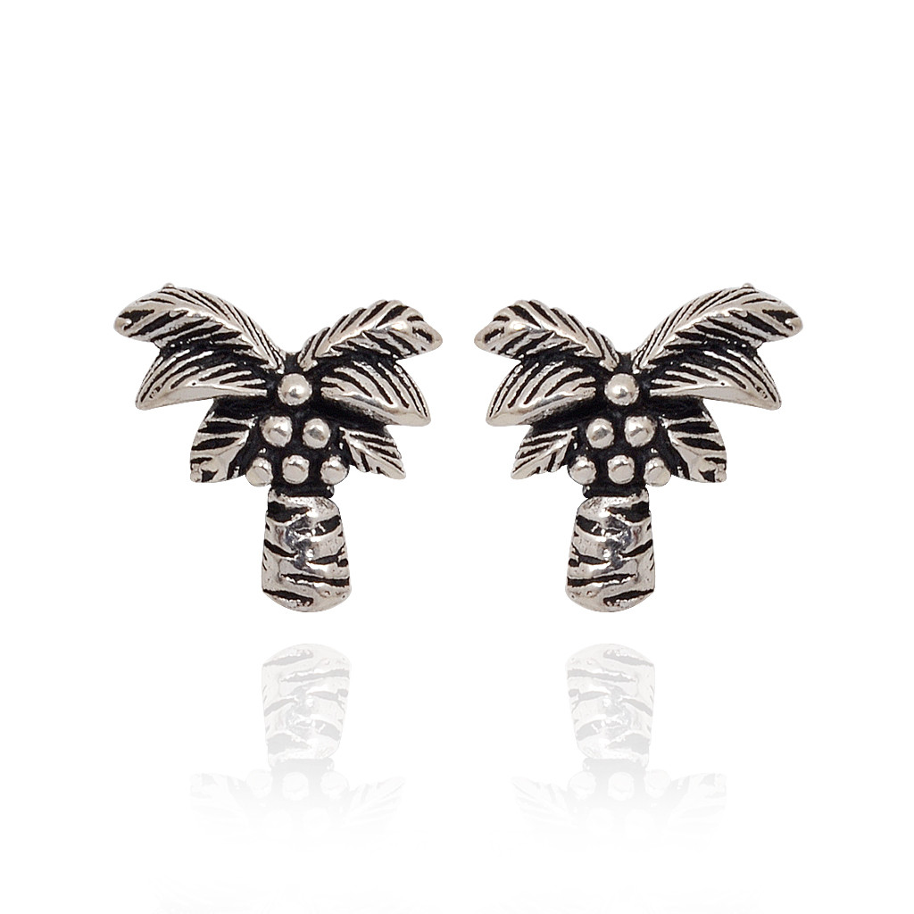 Fancy Coconut Tree Silver Earrings