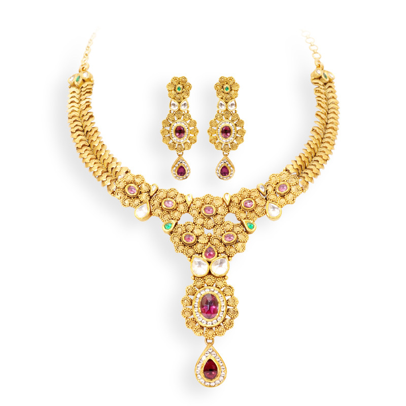 Creatively Designed Gold Necklace Studded with Multigems