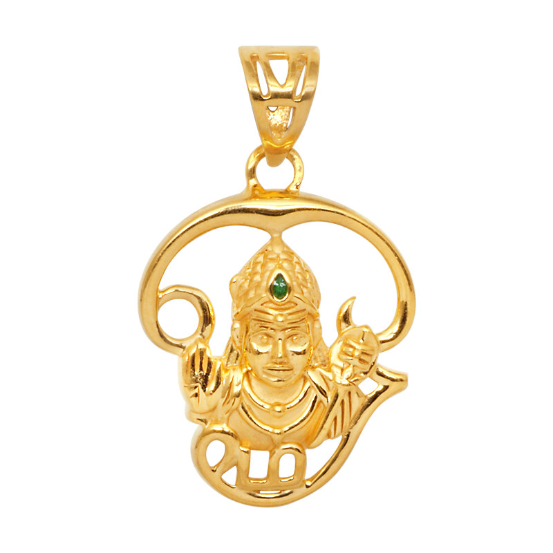 Lord Muruga with Tamil Om 22Kt Gold Pendant