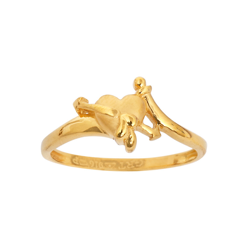 Arrow through heart 22KT Gold Ring
