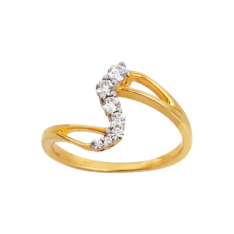 Contemporary Wave Design Diamond Ring