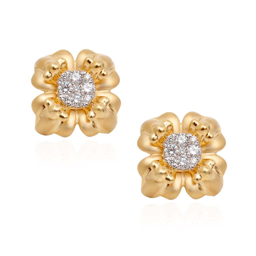 Gold Crush Pressure Setting Diamond Earrings