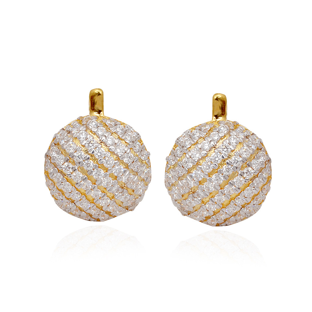 Matt Finish Gold Earring With Diamond Stones