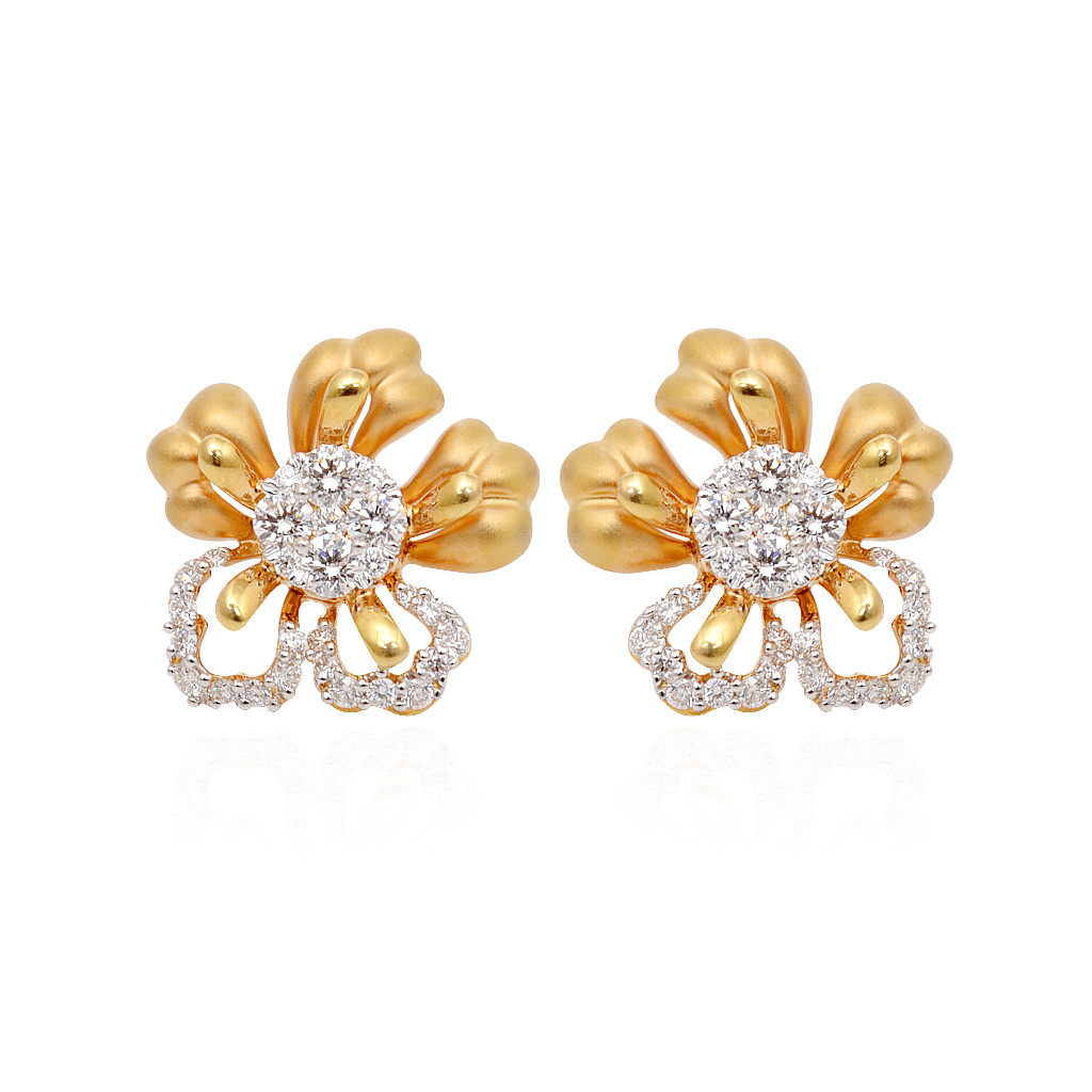 Five Petal Pressure Stone Diamond earrings