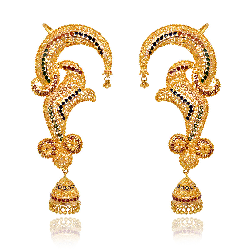 Blossom Ear Cuff Gold Earrings With Jimmiki