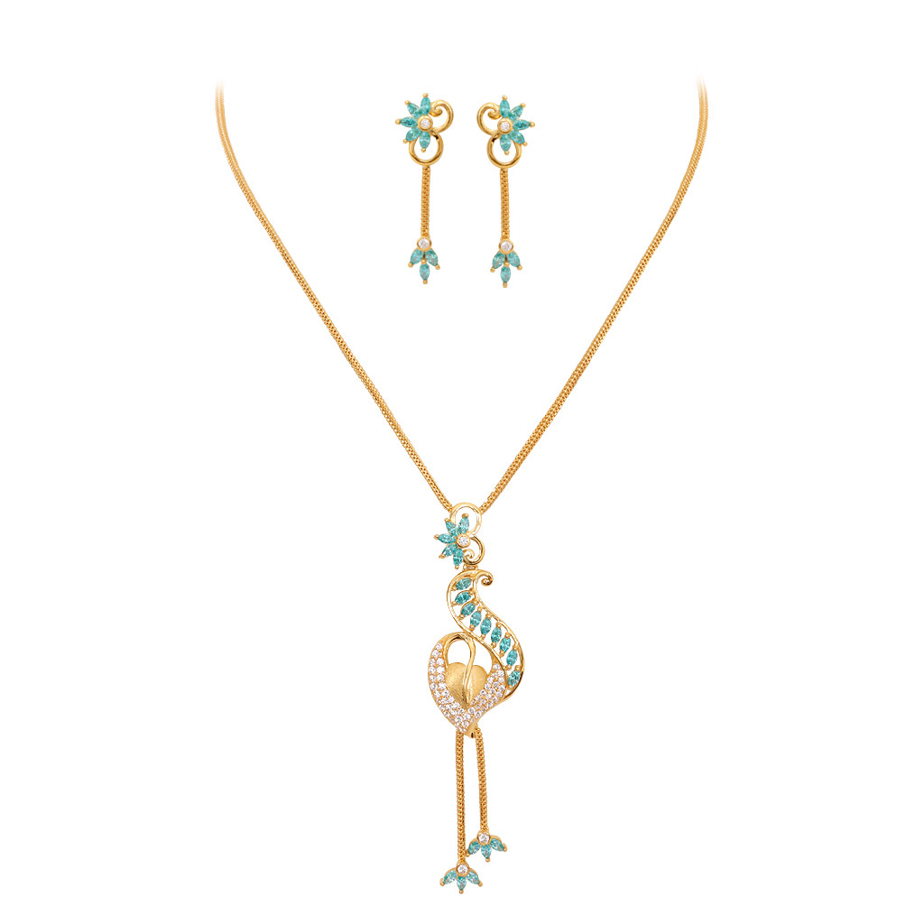 Stylus Floral Leaf Gold Necklace Set