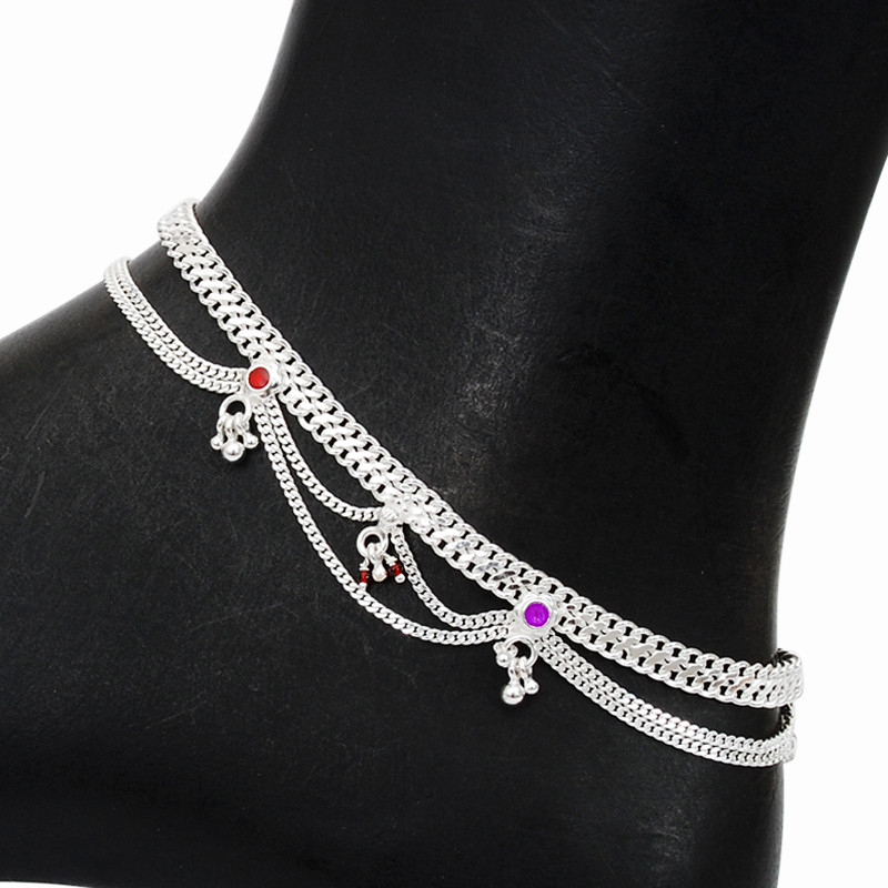 Elegant Silver Anklet With Charms
